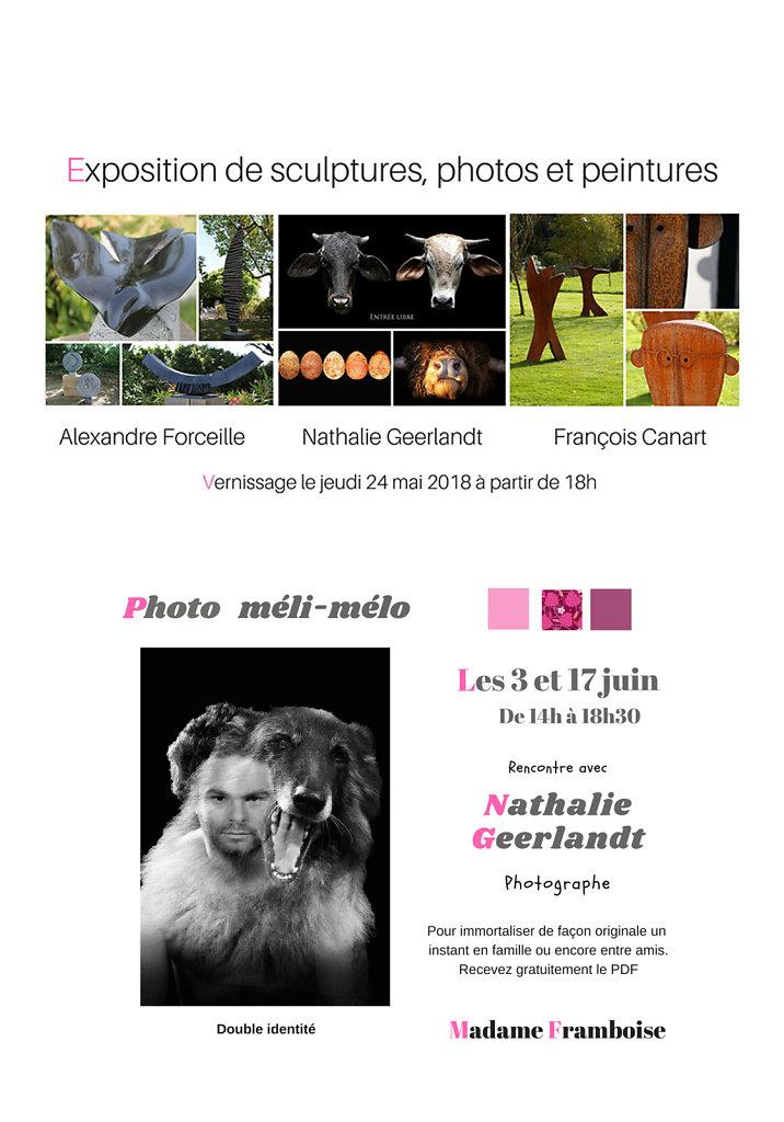 Exposition sculptures, photos et peinture.